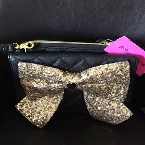 Betsey Johnson Black Quilted & Gold Sequined Bow